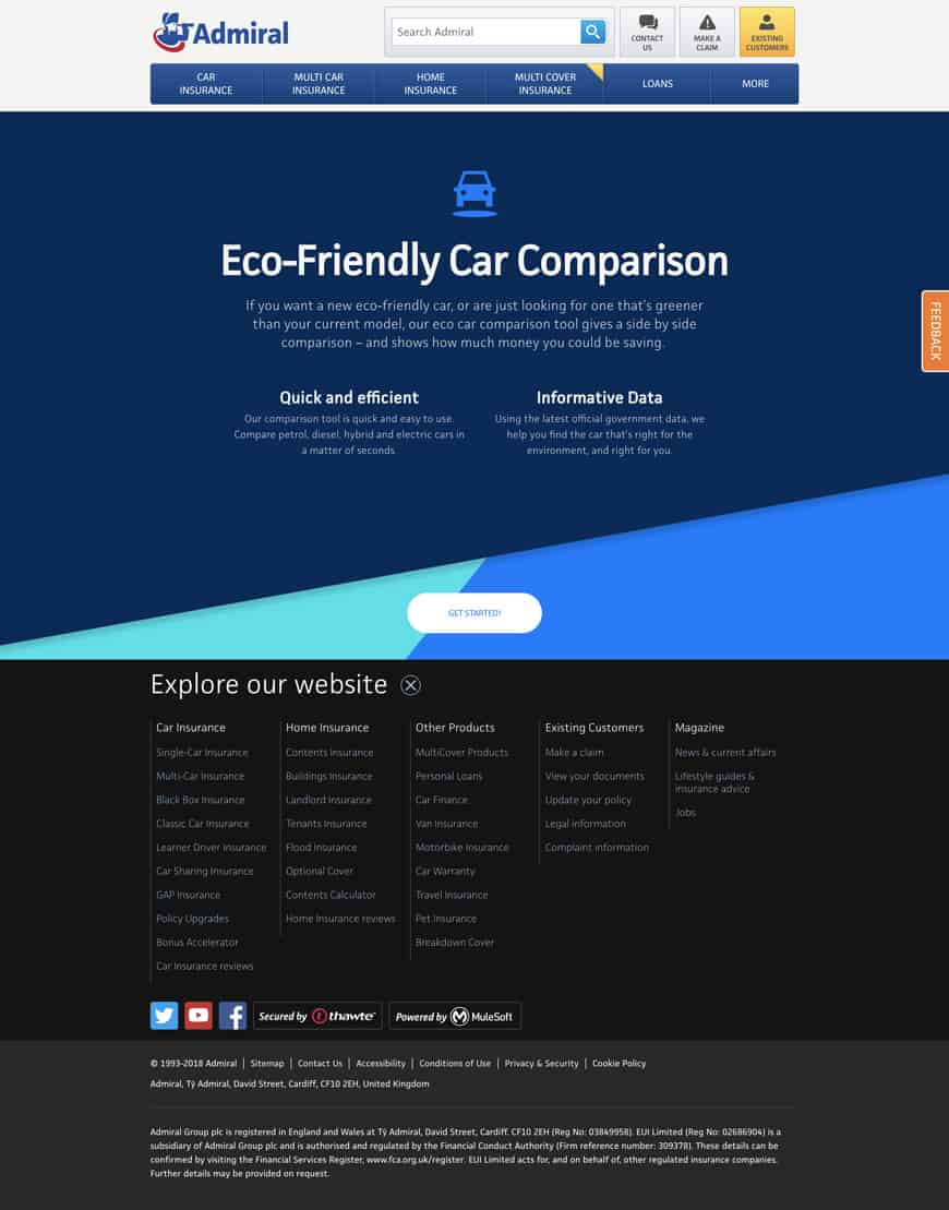 Admiral Eco Comparison Tool Home Page